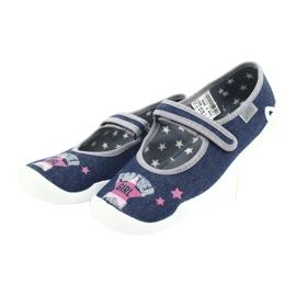 Befado obuwie dziecięce 114Y369 niebieskie różowe szare 3