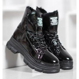 Bella Paris Sneakersy Z Lakierowanej Eko Skóry czarne 5