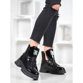 Bella Paris Sneakersy Z Lakierowanej Eko Skóry czarne 1