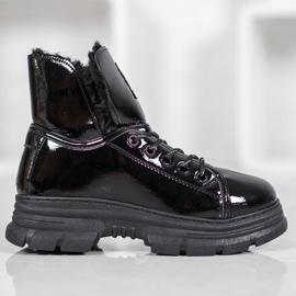 Bella Paris Sneakersy Z Lakierowanej Eko Skóry czarne 3