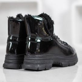 Bella Paris Sneakersy Z Lakierowanej Eko Skóry czarne 4