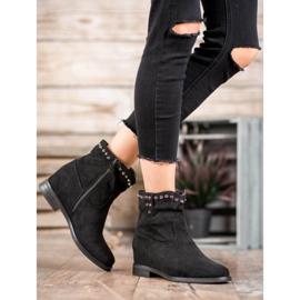 Ideal Shoes Ciepłe Kowbojki Z Dżetami czarne 1