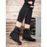 Ideal Shoes Ciepłe Kowbojki Z Dżetami czarne 2