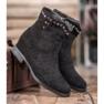 Ideal Shoes Ciepłe Kowbojki Z Dżetami czarne 3
