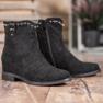 Ideal Shoes Ciepłe Kowbojki Z Dżetami czarne 5