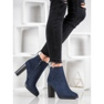 Ideal Shoes Klasyczne Botki Na Obcasie niebieskie 6