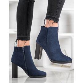 Ideal Shoes Klasyczne Botki Na Obcasie niebieskie 1