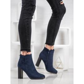 Ideal Shoes Klasyczne Botki Na Obcasie niebieskie 7