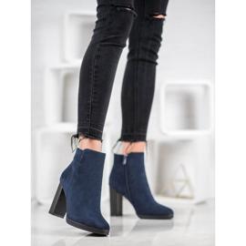 Ideal Shoes Klasyczne Botki Na Obcasie niebieskie 5
