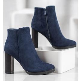 Ideal Shoes Klasyczne Botki Na Obcasie niebieskie 4