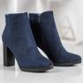Ideal Shoes Klasyczne Botki Na Obcasie niebieskie 3