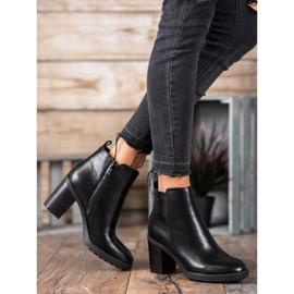 Ideal Shoes Wygodne Botki Na Obcasie czarne 1