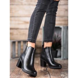 Ideal Shoes Wygodne Botki Na Obcasie czarne 2