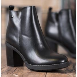 Ideal Shoes Wygodne Botki Na Obcasie czarne 3