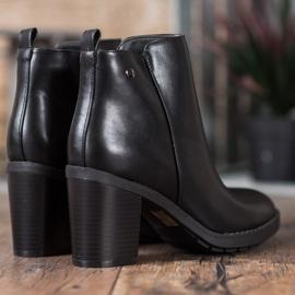 Ideal Shoes Wygodne Botki Na Obcasie czarne 4