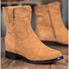 Ideal Shoes Ciepłe Kowbojki Na Koturnie brązowe 4