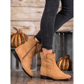 Ideal Shoes Ciepłe Kowbojki Na Koturnie brązowe 1