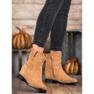 Ideal Shoes Ciepłe Kowbojki Na Koturnie brązowe 2
