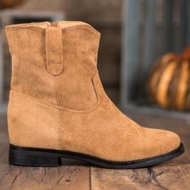 Ideal Shoes Ciepłe Kowbojki Na Koturnie brązowe 3