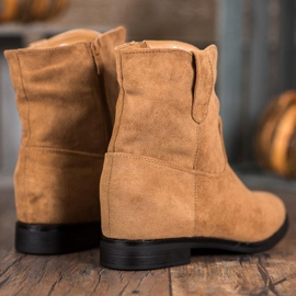 Ideal Shoes Ciepłe Kowbojki Na Koturnie brązowe 5