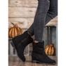 Ideal Shoes Ciepłe Kowbojki Na Koturnie czarne 1