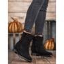 Ideal Shoes Ciepłe Kowbojki Na Koturnie czarne 2