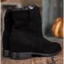 Ideal Shoes Ciepłe Kowbojki Na Koturnie czarne 4