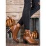 Ideal Shoes Klasyczne Botki Z Eko Skóry brązowe 1