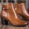 Ideal Shoes Klasyczne Botki Z Eko Skóry brązowe 3