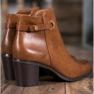 Ideal Shoes Klasyczne Botki Z Eko Skóry brązowe 4