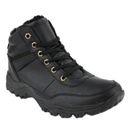 Czarne ocieplane buty trapery męskie GT-9578-1 1