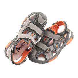 American Club Buty sandałki z wkładką skórzaną American DR02 brązowe pomarańczowe szare 5