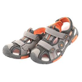 American Club Buty sandałki z wkładką skórzaną American DR02 brązowe pomarańczowe szare 3