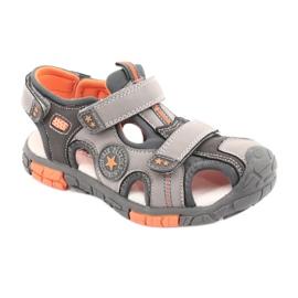 American Club Buty sandałki z wkładką skórzaną American DR02 brązowe pomarańczowe szare 1