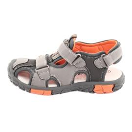 American Club Buty sandałki z wkładką skórzaną American DR02 brązowe pomarańczowe szare 2