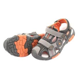 American Club Buty sandałki z wkładką skórzaną American DR02 brązowe pomarańczowe szare 4