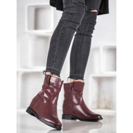 Ideal Shoes Kowbojki Z Eko Skóry czerwone 2