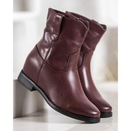 Ideal Shoes Kowbojki Z Eko Skóry czerwone 3