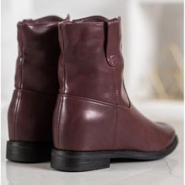 Ideal Shoes Kowbojki Z Eko Skóry czerwone 4