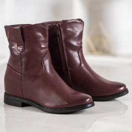 Ideal Shoes Kowbojki Z Eko Skóry czerwone 5