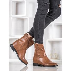 Ideal Shoes Kowbojki Z Eko Skóry brązowe 1