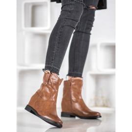 Ideal Shoes Kowbojki Z Eko Skóry brązowe 2
