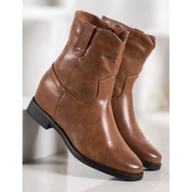 Ideal Shoes Kowbojki Z Eko Skóry brązowe 6