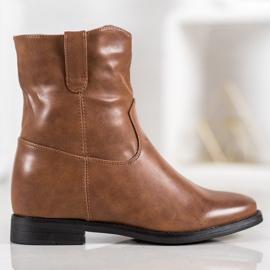 Ideal Shoes Kowbojki Z Eko Skóry brązowe 3