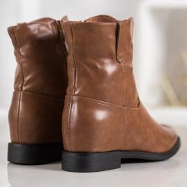 Ideal Shoes Kowbojki Z Eko Skóry brązowe 4