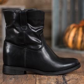 Ideal Shoes Kowbojki Z Eko Skóry czarne 4