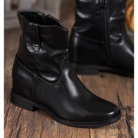 Ideal Shoes Kowbojki Z Eko Skóry czarne 5