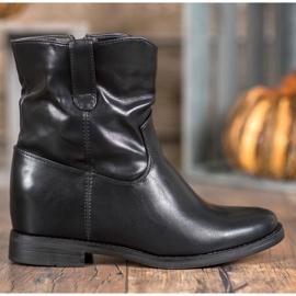 Ideal Shoes Kowbojki Z Eko Skóry czarne 6