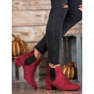 Ideal Shoes Sztyblety Z Brokatem czerwone 4