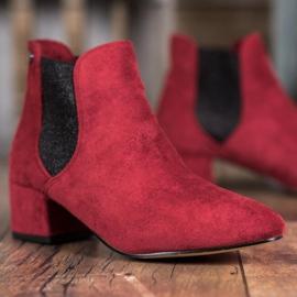 Ideal Shoes Sztyblety Z Brokatem czerwone 2